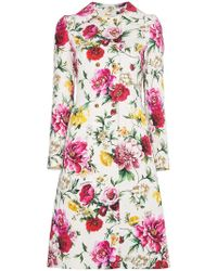 Dolce & Gabbana - Floral Double Breasted Coat - Lyst