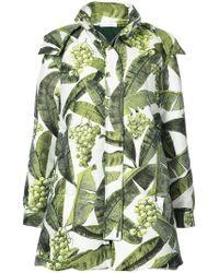 Oscar de la Renta - Banana Leaf Hooded Quilt Coat - Lyst