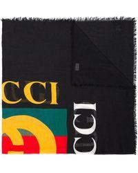 Gucci - Black Logo Print Silk Blend Scarf - Lyst