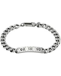 24ca49b8c Gucci Bracelet With Interlocking G Charm in Metallic for Men - Lyst
