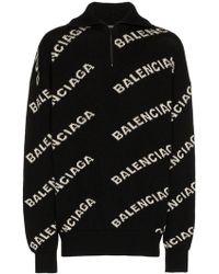 Balenciaga - Logo Knit Zipped Jumper - Lyst