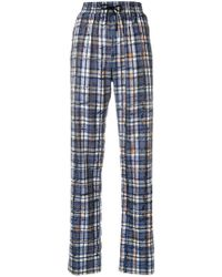 Burberry - Side Stripe Checked Trousers - Lyst