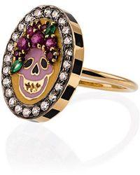Holly Dyment - 18k Yellow Gold Skull Diamond Sapphire Ring - Lyst