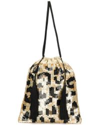 Attico - Sequined Leopard Pouch Bag - Lyst