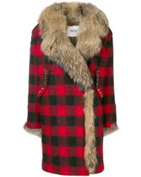 Bazar Deluxe - Racoon Fur-lined Chequered Coat - Lyst