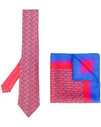 Etro - Tortoise Print Tie And Pocket Square - Lyst
