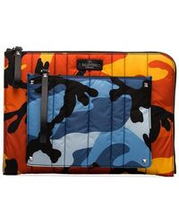 Valentino - Multicoloured Camouflage Print Quilted Pouch - Lyst