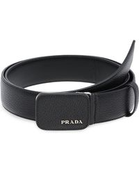 Prada - Grained Logo Belt - Lyst