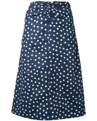 A.P.C. - Kiera Ruched Polka-dot Cotton And Linen-blend Skirt - Lyst