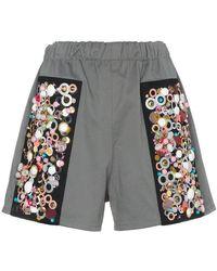 Prada - Embroidered Stretch Drill Shorts - Lyst