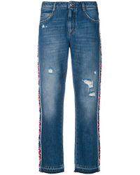 Ermanno Scervino | Floral Applique Side Stripe Jeans | Lyst