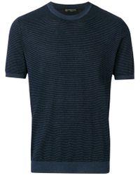 Corneliani - Striped Short Sleeve Sweater - Lyst