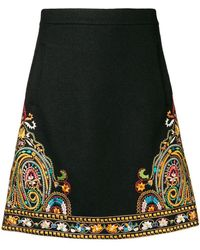 Etro - Placement Embroidered Skirt - Lyst