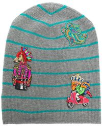 Etro - Striped Embroidered Beanie - Lyst