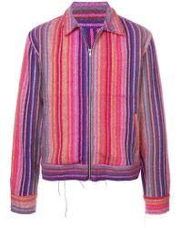 The Elder Statesman - Striped Zipped Cardigan - Lyst