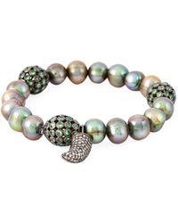Loree Rodkin - 18kt White Gold Diamond Horn Pearl Bracelet - Lyst