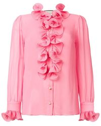 Gucci - Frill Embroidered Blouse - Lyst