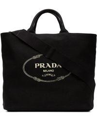 Prada - Black Gardener Large Cotton Tote - Lyst