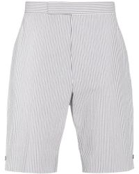 Thom Browne - Striped Cotton Shorts - Lyst