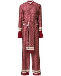 Victoria, Victoria Beckham - Tie Waist Shirt Jumpsuit - Lyst