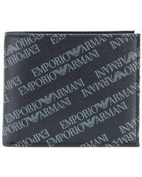 Emporio Armani - Logo Printed Bi-fold Wallet - Lyst