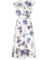 Lela Rose - Floral Print Ruffle Dress - Lyst