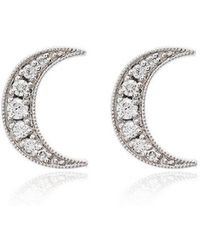 Andrea Fohrman - White Gold Crescent Moon Diamond Earrings - Lyst