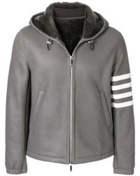 Thom Browne - Unlined Leather Zip Up Tech Hoodie In Dyed Shearling - Lyst