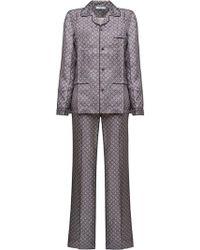 Prada - Printed Silk Pyjamas - Lyst