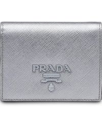 0c78c0b4ed0c Lyst - Prada Logo Plaque Bifold Wallet in Metallic