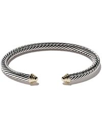David Yurman - Cable Classics Sterling Silver & 14kt Yellow Gold Accented Cuff Bracelet - Lyst