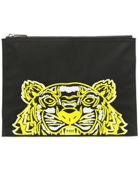 2125603611 KENZO Tiger Canvas Clutch in Black for Men - Lyst