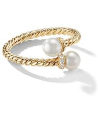 David Yurman - 18kt Yellow Gold Petite Solari Bypass Pearl And Diamond Ring - Lyst