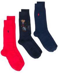 4ebc88381f85 Polo Ralph Lauren - Pack de 3 paires de chaussettes Polo Bear - Lyst