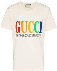 Gucci - Rainbow Cities Print Cotton T Shirt - Lyst
