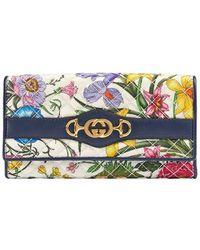 4c648a2c21 Gucci - Flora Print Continental Wallet - Lyst
