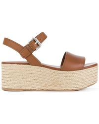 01a9d75c01c Lyst - Prada Womens Brown Embroidered Leather Wooden Heel Sandals in ...