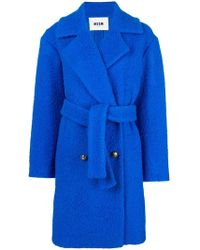 MSGM - Belted Double-breasted Bouclé Coat - Lyst