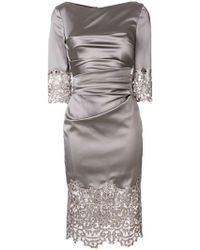 Talbot Runhof - Lace Panel Dress - Lyst