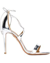 Aquazzura - Linda Mirrored Silver Leather Sandal - Lyst