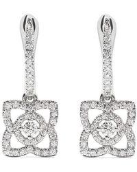 De Beers - 18kt White Gold Enchanted Lotus Diamond Sleeper Earrings - Lyst