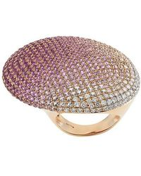 Gavello - 18kt Rose Gold, Sapphire And Diamond Cocktail Ring - Lyst