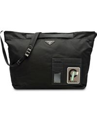 Prada - Black And Grey Technical Shoulder Bag - Lyst