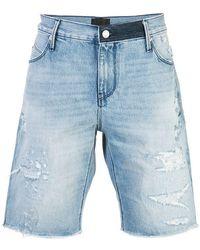 RTA - Distressed Denim Shorts - Lyst