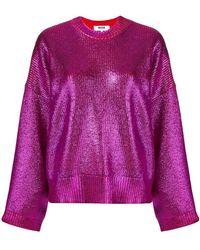 MSGM - Metallic Knit Sweater - Lyst
