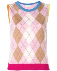 Pringle of Scotland - Argyle Colour Block Sleeveless Jumper In Pink/camel - Lyst