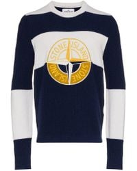 Stone Island - Graphic Embroidered Logo Knit - Lyst