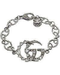 5de13d4b8 Gucci Crystal Double G Bracelet in Metallic - Lyst