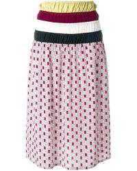 Marni - Ruched Waist Printed Midi Skirt - Lyst