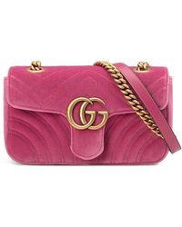 51ffb570db4 Gucci GG Marmont Velvet Shoulder Bag in Red - Lyst
